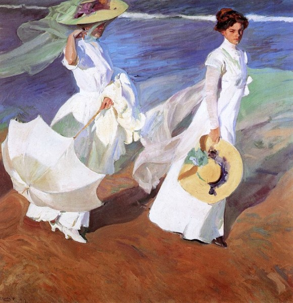 Joaquin-Sorolla-y-bastida-strandspaziergang-1909-wiki-pd